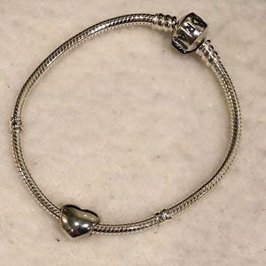 NIB Pandora Starter Bracelet & Heart Charm—new!